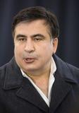 Mikhail Saakashvili på förhandsmöte för press Royaltyfri Foto