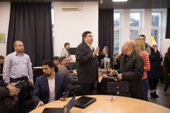 Mikhail Saakashvili på förhandsmöte för press Fotografering för Bildbyråer