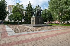 The monument to the major Russian satirist of the 19th century Saltykov-Shchedrin in the city of Tver, Russia. Mikhail Saltykov-Shchedrin born Saltykov Stock Photo