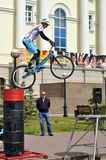 Mikhail Sukhanov – the champion of Russia on a cycle trial, acts in Tyumen on a holiday the City Day 26.07.2014г. Stock Image