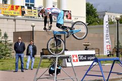 Mikhail Sukhanov � the champion of Russia on a cycle trial, acts Stock Photography