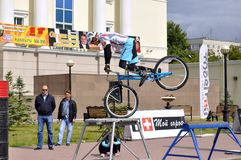 Mikhail Sukhanov performance, champions of Russia on a cycle tr Stock Photo