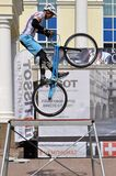 Mikhail Sukhanov performance, champions of Russia on a cycle tr Royalty Free Stock Images