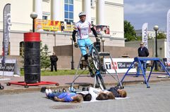 Mikhail Sukhanov performance, champions of Russia on a cycle tr Stock Photography
