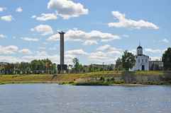 Mikhail Tverskoy's church and memorial of the Great Patriotic War in Tver city, Russia stock image