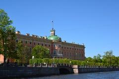 Mikhailovsky城堡在18世纪,圣彼德堡,俄罗斯被修造了 免版税库存图片