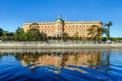 Mikhailovsky Castle across Fontanka river, St. Petersburg, Russia Stock Photo