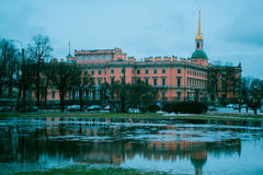 Mikhailovsky Castle. In the cold spring the city gains blue color Stock Photo