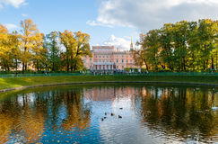 Mikhailovsky Castle or Engineers Castle in St Petersburg, Russia reflecting in Karpiev pond water Royalty Free Stock Photography