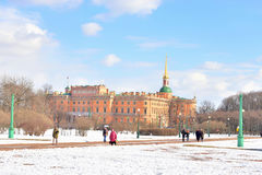 The Mikhailovsky Castle and Field of Mars. Stock Photo
