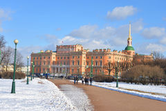 The Mikhailovsky Castle and Field of Mars. Stock Image
