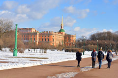 The Mikhailovsky Castle and Field of Mars. Royalty Free Stock Photos