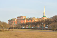 The Mikhailovsky Castle and Field of Mars. Stock Image