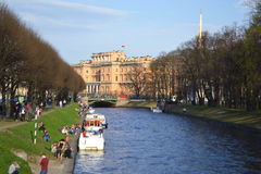 The Mikhailovsky Castle and Moika river Stock Photography