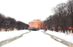 The Mikhailovsky Castle and Moika River. The Mikhailovsky Castle and Moika River in St.Petersburg at winter, Russia Stock Image