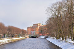 The Mikhailovsky Castle and Moyka River. Royalty Free Stock Image