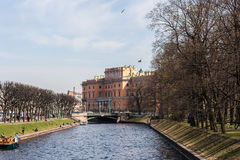 Mikhailovsky Castle and the river Moika Stock Images