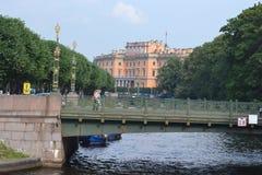 Mikhailovsky Castle and Second Sadoviy Bridge Royalty Free Stock Photos