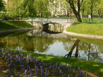 The Mikhailovsky garden. Saint-Petersburg. Russia. Bridge and flowers in the Mikhailovsky garden near the Mikhailovsky Palace, which houses the Russian Museum in Stock Photography