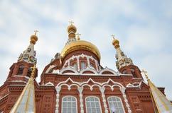 Mikhailovskykathedraal in een kleine Russische stad Stock Afbeeldingen