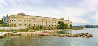 Mikhaylovskaya coastal battery Michael is one of the 10 of fortifications on the coast of the city of Sevastopol to protect the Stock Image