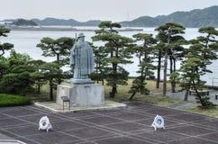 Mikimoto Kokichi statue, Pearl Island, Japan stock image