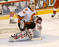 Mikka Kiprusoff Looks For The Puck Stock Images