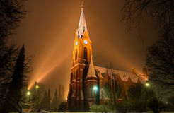Mikkeli Cathedral at snowfall, Finland Royalty Free Stock Images