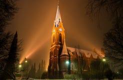 Mikkeli domkyrka på snowfall, Finland Royaltyfria Bilder