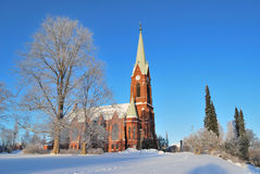 Mikkeli, Finland. Lutheran Cathedral. In a sunny winter day Royalty Free Stock Photos