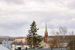 Mikkeli, Suomi or Finland. Mikkeli cathedral view, Eastern Finland stock photo