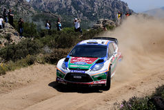 Mikko Hirvonen. At the last race in the wrc rally Italia Sardinia Royalty Free Stock Images