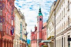 Miklosic街在卢布尔雅那,斯洛文尼亚 库存照片