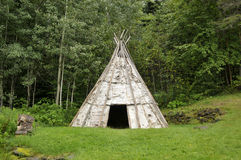 Mikmaq teepee. The Mikmaq are a First Nations people, indigenous to the northeastern region of New England, Canada's Atlantic Provinces, and the Gaspe stock photos