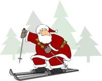 mikołaj na nartach Zdjęcia Royalty Free