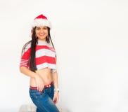 Mikołaj nosi kapelusz kobiety Obraz Royalty Free