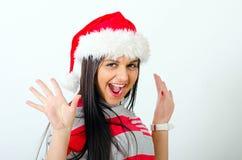 Mikołaj nosi kapelusz kobiety Fotografia Royalty Free