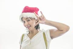 Mikołaj nosi kapelusz kobiety Zdjęcia Royalty Free