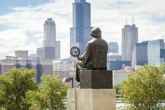 Mikolaj Kopernik admiring panorama of Chicago. Royalty Free Stock Photo