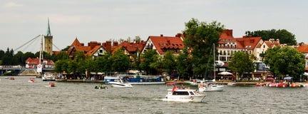 Mikolajki embarkment over Sniardwy lake. City of Mikolajki in Masuria region in Poland Stock Photo
