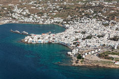 Mikonos city and old port, Greece, aerial view Stock Photography