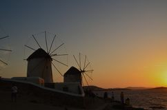 Mikonos Island. Windmills of mikonos during a sunset Stock Image