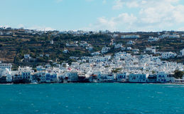 Mikonos from sea. Mikonos iceland, Greece.View from sea royalty free stock image