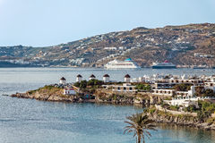 Mikonos, view to the windmills Stock Photography