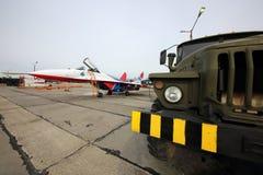 Mikoyan-Gurevich MiG-29 команды аэробатик Swifts русской военновоздушной силы во время репетиции парада дня победы Стоковое Изображение RF