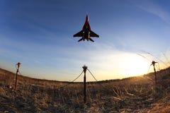 Mikoyan Gurevich mig-29 BLAUW 03 bij de Luchtmachtbasis van Kubinka Stock Afbeeldingen