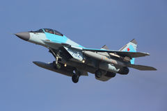 Mikoyan Gurevich MiG-35 702 BLUE of Russian Air Force landing at Zhukovsky - Ramenskoe airport. Stock Images