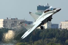 Mikoyan Gurevich MiG-35 der russischen Luftwaffe gezeigt bei 100 Jahren Jahrestag von russischen Luftwaffen in Zhukovsky Lizenzfreie Stockfotos