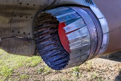The Mikoyan-Gurevich MiG-23 detail. The Mikoyan-Gurevich MiG-23 jet engine detail Royalty Free Stock Photography