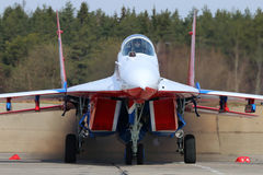 Mikoyan-Gurevich MiG-29 of Swifts aerobatics team of Russian air force during Victory Day parade rehearsal Royalty Free Stock Photo